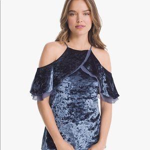 WHBM   blue velvet blouse